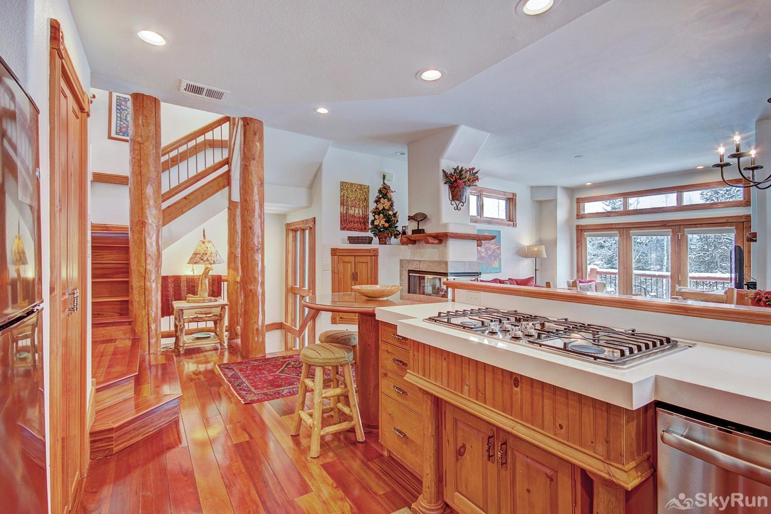 Dogwood Lodge Kitchen opens up to living room area