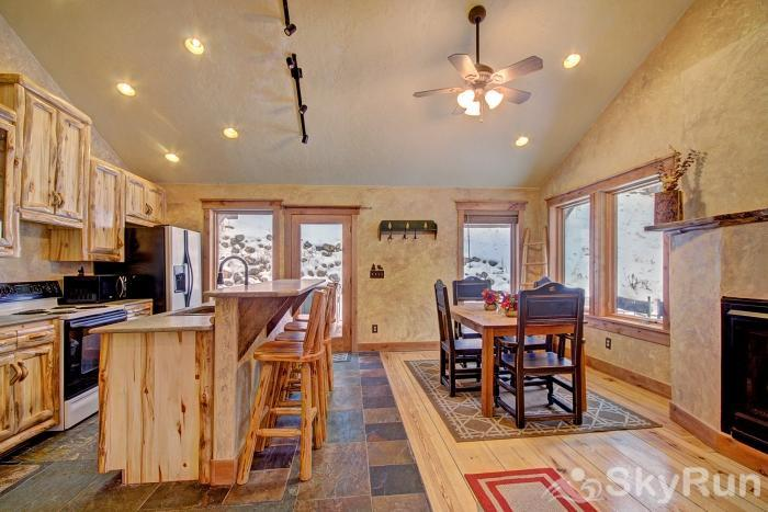Lodgepole Chalet Large kitchen and dining area perfect for socializing with friends and family
