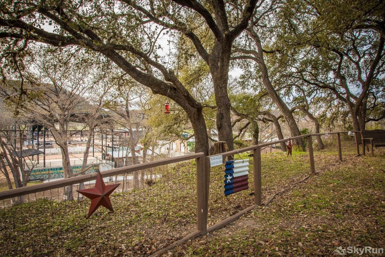 HONEY HAUS ON THE HORSESHOE Backyard Overlooking the Guadalupe and Whitewater