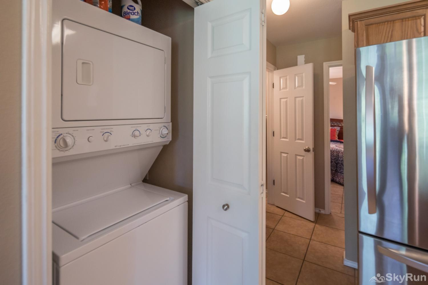 WATERWHEEL ESCAPE CONDO Stackable Washer and Dryer Available for Guest Use