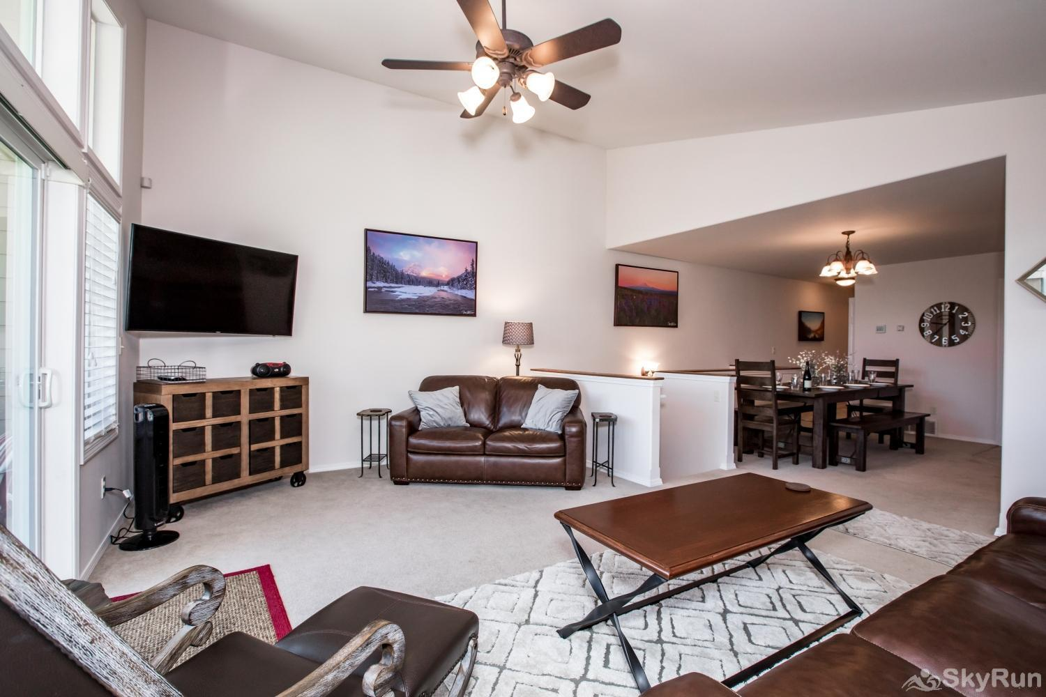 Red Fox Hollow This open concept living, dining and kitchen area is perfect for enjoying Whitefish