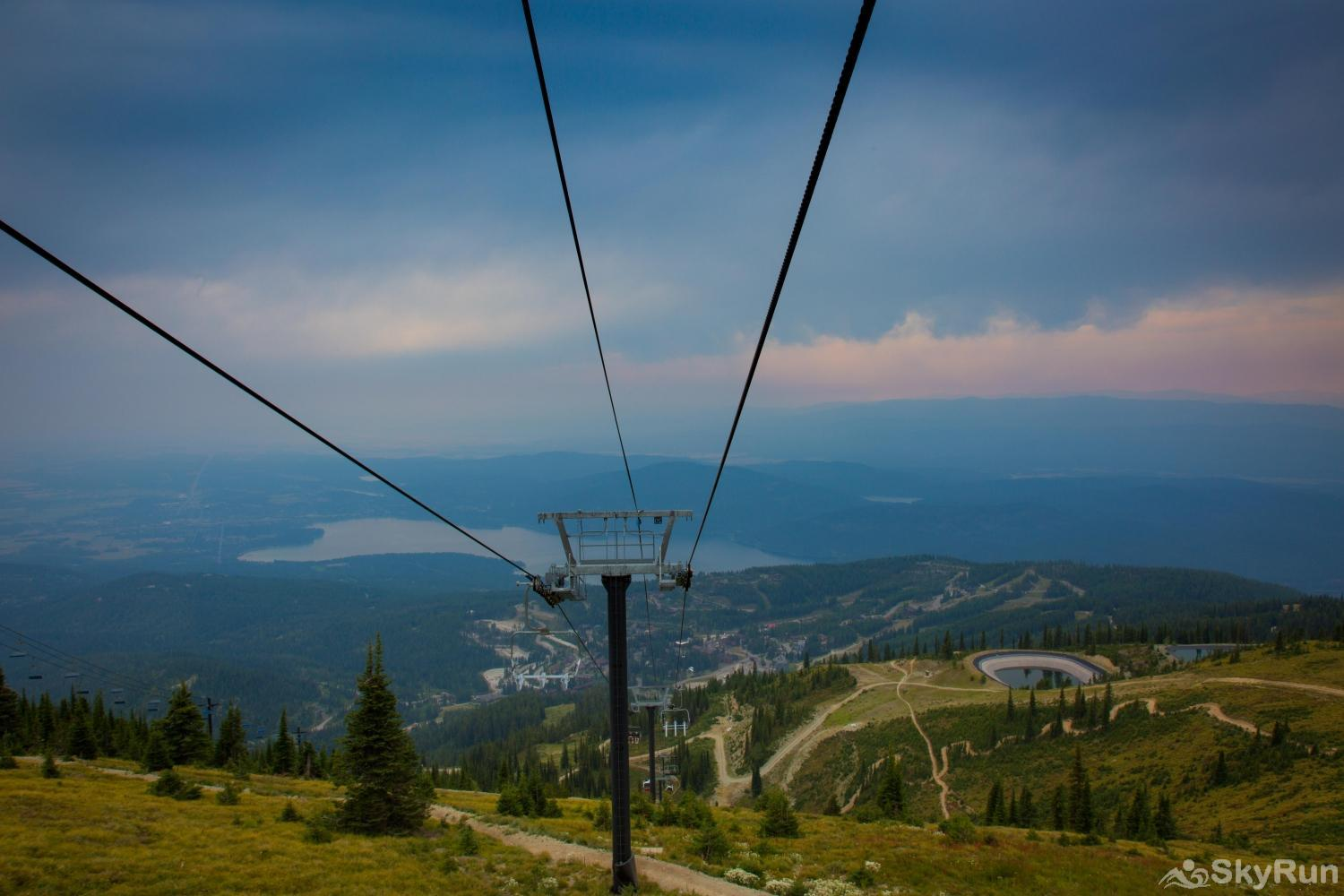 Red Fox Hollow Whitefish Ski Resort in the summer looking down on Whitefish Lake