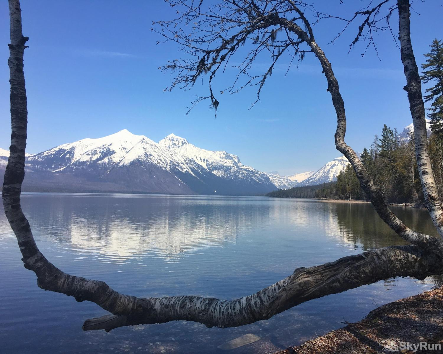 Red Fox Hollow Lake McDonald with some snow capped mountains