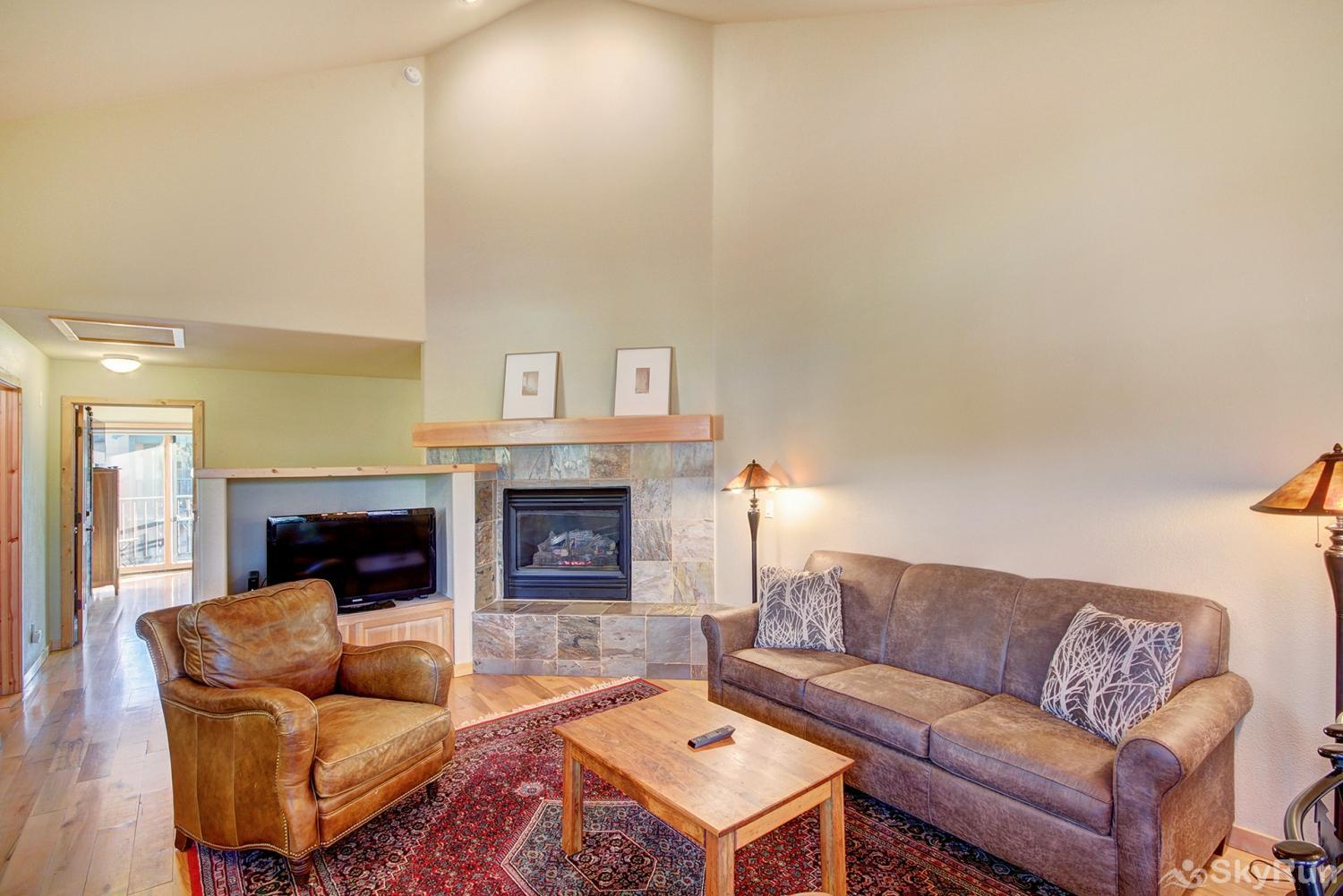 Twin Elk Lodge D16 Cozy living room with gas fireplace and flat screen TV