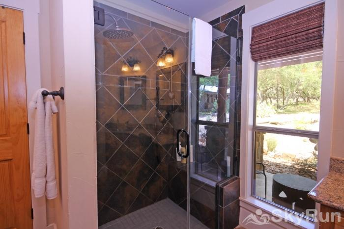 HILLTOP HIDEAWAY AND BUNKHOUSE COMBO Master Bath with Large Walk-In Shower
