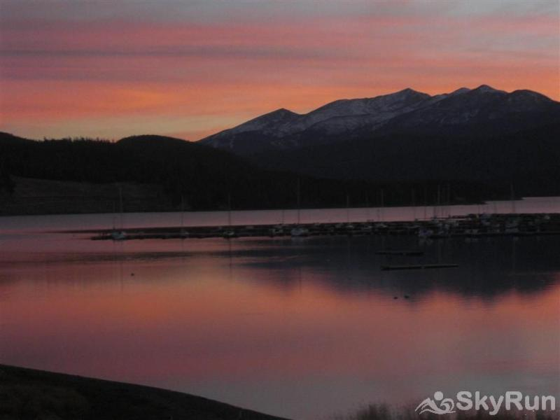 B201 WaterTower Place 3BR 3BA Sun setting over Lake Dillon