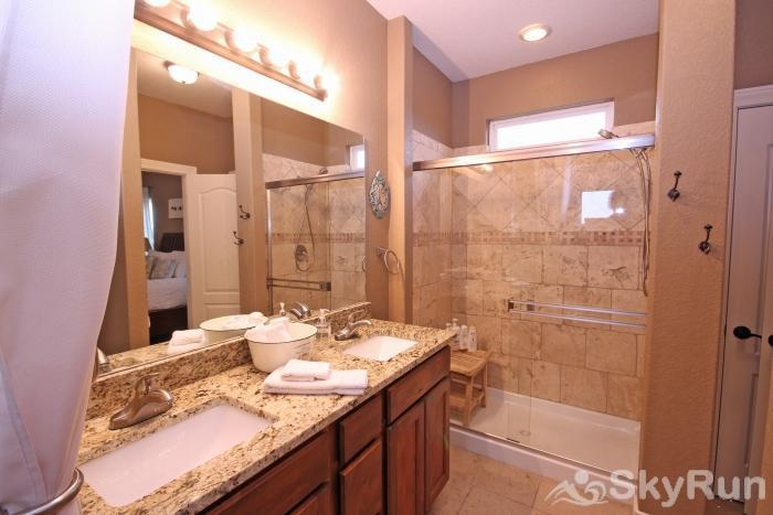 LA BELLE VIE Master Bathroom with Dual Sinks and Large, Walk-In Shower