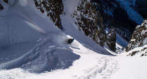 mike skiing down option a